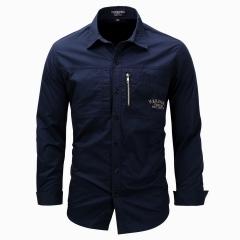 Men Shirt Military Men Long Sleeve Slim fit  Khaki Army Green Shirt High Quality Shirt Men navy m