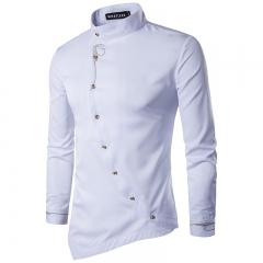 M&J Men Shirts Casual Shirt Long Sleeve High Quality Slim Fit Fashion Male Shirts white m