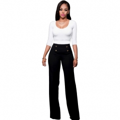 Wide Leg High Waist Women Pants Button Casual Pants Office Lady Fashion Loose Stretch Women Trousers black s