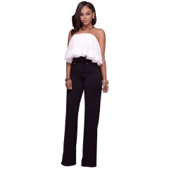 M&J Wide Leg High Waist Women Pants Button Casual Pants Office Lady Fashion Women Trousers black l