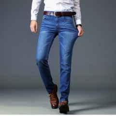 M&J New Arrival  Stretch Men Jeans High Quality Men Denim Trousers Slim Straight Business Men Pants 812 blue 28