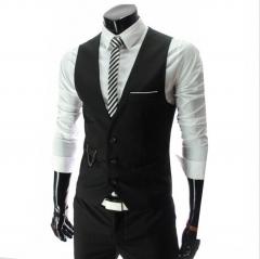 M&J New Arrival Dress Vest Men Slim Fit Men Suits Vest Male Waistcoat Casual Formal Business Jacket black m