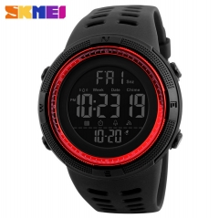 SKMEI Men Watches Sports Watch Countdown Double Time Digital Wristwatch Waterproof Watch black red 25mm