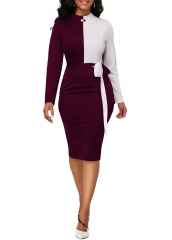 M&J Women Sexy Hit Color Bodycon Dresses Long Sleeve Casual Office Elegant Dress Party Club Dress s wine red