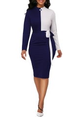M&J Women Sexy Hit Color Bodycon Dresses Long Sleeve Casual Office Elegant Dress Party Club Dress s blue
