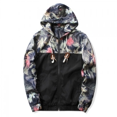 M&J Men Floral Bomber Jacket  Fashion Tops Hip Hop Coat Plus Size Men's Hooded Jackets black m