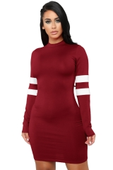 M&J New Arrival Long Sleeve Women Bodycon Dresses Sexy Mini Dress Elastic Party Club Dress s wine red