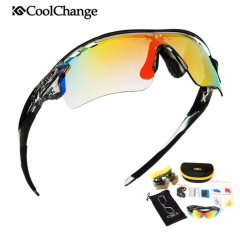 Polarized Cycling Glasses Bike Sports Goggles Bicycle Sunglasses 5 Lens Myopia Frame As A Gift free size as picture