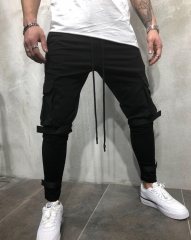 M&J New Arrival Men Jogger Pants Men Fashion Fitness Trousers  Hip Hop Sweatpants Big Pocket Pants black m