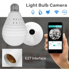 360° Panoramic 960P SPY Hidden Wireless Wifi Camera Light Bulb Home Security IP CAM Lamp CCTV Camera 960P White light(no card) one size