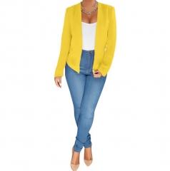 M&J Women Ladies Blazer Formal Jacket Women's White Blazer Female Women Suit Office Ladies Coat yellow s