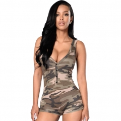 M&J Summer Bodycon Camouflage Jumpsuit Sexy V Neck Sleeveless Women Bodysuits Army Green Jumpsuits army green s