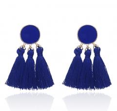 M&J Bohemia Statement Tassel Earrings Gold Color Round Drop Earrings Women Wedding Jewellery Gift blue normal