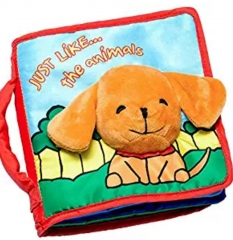 M&J Intelligence Development Cloth Bed Cognize Book Kid Baby Educational Toy Baby Cloth Book Gift Dog normal