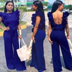 M&J Fashion Women Jumpsuit Solid Backless Sexy Jumpsuit With Wide Leg Pants Office Lady Jumpsuits blue s