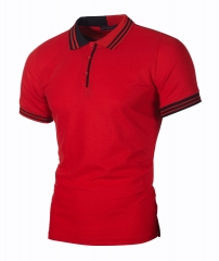 M&J New Men Short Sleeve T-shirts Business Polos Summer Slim Office Shirt red l polyester&cotton