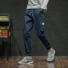 M&J Brand Men Pants Hip Hop Harem Joggers Cotton Pants Male Trousers Mens Solid  Pants Sweatpants dark blue m