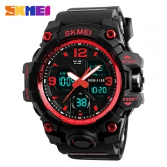 SKMEI Large Dial Shock Sports Watches Men Digital LED Waterproof Military Watch Alarm Wristwatches red normal