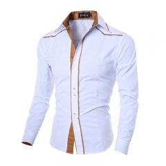 M&J Hot New Brand Men Casual Shirt Slim Official Men Shirts Long Sleeve Business Men Dress Shirt white m