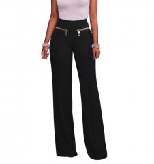 M&J Fashion Women Wide Leg Pants High Waist Pants Solid Color Female Trousers Work Trousers black s