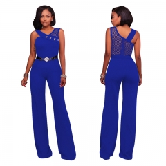 M&J New Women Sexy Jumpsuits Sleeveless High Quality Wide Leg Pants Office Lady Jumpsuit With Belt blue s