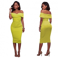 M&J New Off Shoulder Bodycon Dresses Sexy Slim Party Office Lady Dress Mid-calf Dress s yellow