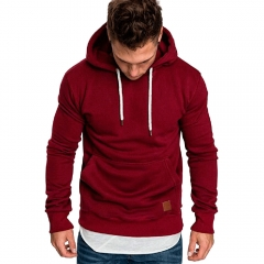 M&J Men Long Sleeve Casual Sweatshirt Hoodies Top Blouse Tracksuits Sweatshirts Hoodies Men red l
