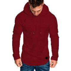 M&J Fashion Hoodies Slim Fit Male Men's Slim Long Sleeve Hoodie Top Blouse Sweatshirts red m