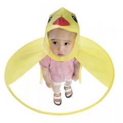 M&J Children's Raincoat Transparent UFO Raincoats Hands Free Baby Duck Foldable Raincoat Gift yellow S