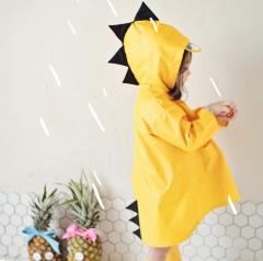 M&J Cute Dinosaur Baby Rain Coat Outdoor Waterproof Raincoat Children Windproof  Boys Girls Rainwear yellow s
