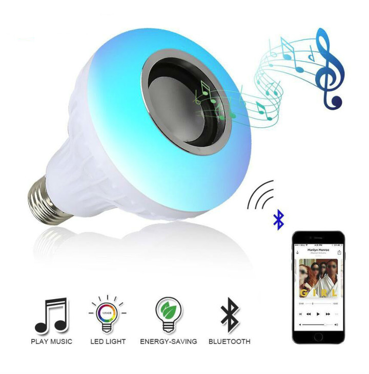 M&J Wireless Bluetooth Speaker Bulb LED Lamp Smart Light Music Player Audio Remote Control Subwoofer Colorful 12W dpyy-e27
