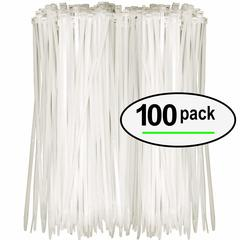 M&J 100PCs Self-locking Nylon Cable Ties Plastic Zip Tie Black Wire Binding Wrap Straps white