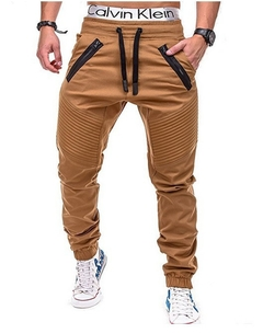 M&J New Fashion Men Slim Solid Color Hip Hop Sweatpants Causal Pants Men's Trousers khaki m