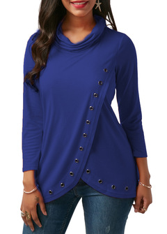 M&J Sexy Women Long Sleeve Turtleneck Casual Tops Solid Shirt Office Lady Top blue s