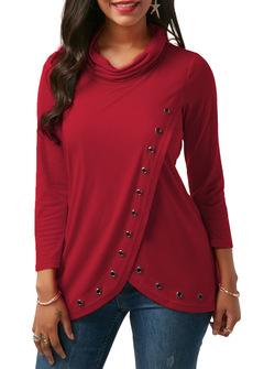 M&J Sexy Women Long Sleeve Turtleneck Casual Tops Solid Shirt Office Lady Top wine red l