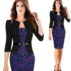 M&J Fashion Elegant Women Long Sleeve Pencil Dresses Office Wear Work Outfits Dress Belt As A Gift s style 1