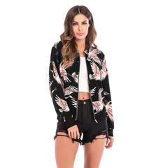 M&J Women Print Baseball Uniform Long Sleeve Zip Jacket Female Coats Causal Jackets Outwear Tops style1 s