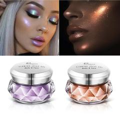 3PCs Face Highlighter Jelly Gel Mermaid Eyeshadow Glow Body Glitter Festival Makeup Gold Highlighter 3pcs