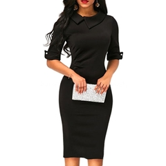 M&J Elegant Women Office Work Dresses Half Sleeve Bodycon Dress Solid Color Party Dress s black