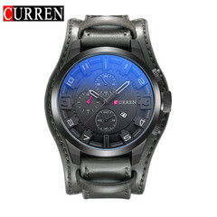 CURREN Watch Men Military Quartz Watch Mens Watches Top Brand Luxury Leather Sports Wristwatch gray gray 48mm