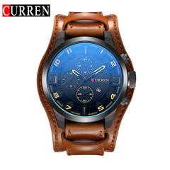 CURREN Watch Men Military Quartz Watch Mens Watches Top Brand Luxury Leather Sports Wristwatch brown black 48mm