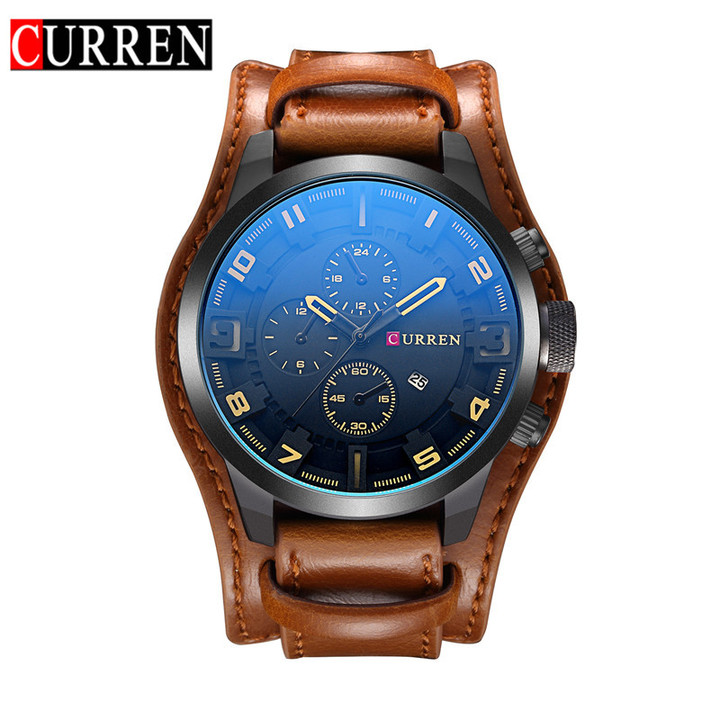 CURREN Watch Men Military Quartz Watch Mens Watches Top Brand Luxury Leather Sports Wristwatch brown black 48mm