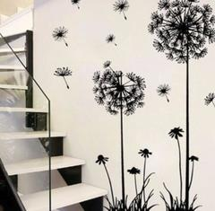 M&J Hot Black Dandelion Living Room Bedroom Wall Stickers Household Adornment Wall Stickers black 70*50cm