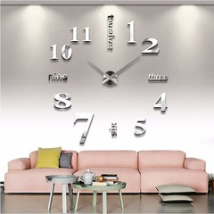 M&J  Quartz Cocks Fashion Watches 3D Real Big Wall Clock Rushed Mirror Sticker DIY Living Room Decor silver 47inch