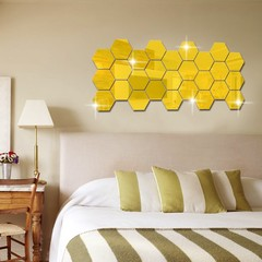 M&J 12PCs Hexagon Acrylic Mirror Wall Stickers DIY Art Wall Decor Wall Stickers Home Decor Sticker gold free size