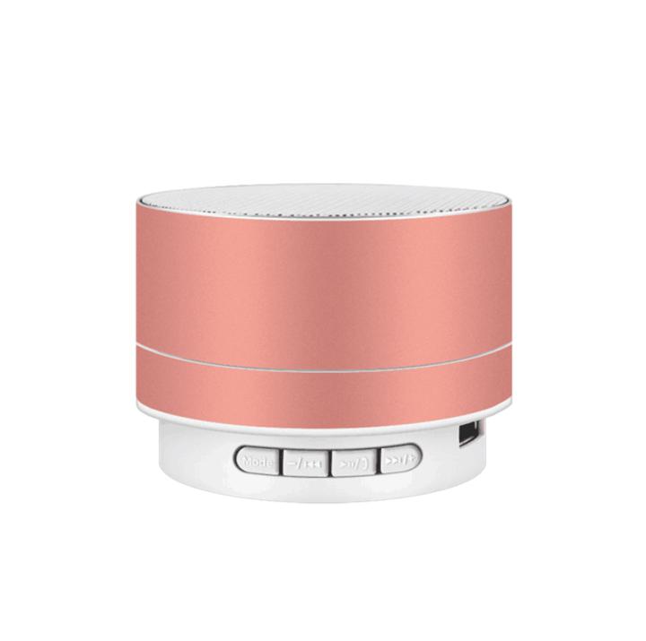 M&J Wireless Bluetooth Speaker Metal Mini Portable Subwoof Sound With Mic TF Card FM Radio Pink 3w A10