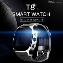 T8 Bluetooth Smart Watch With Camera  Whatsapp Support SIM TF Card Call Smartwatch For Android Phone black one size