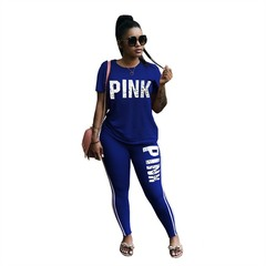 M&J 2PCS Summer Letter Print Tracksuits Women Spring Street Tops and Sweatpants Set Casual Outfits blue s