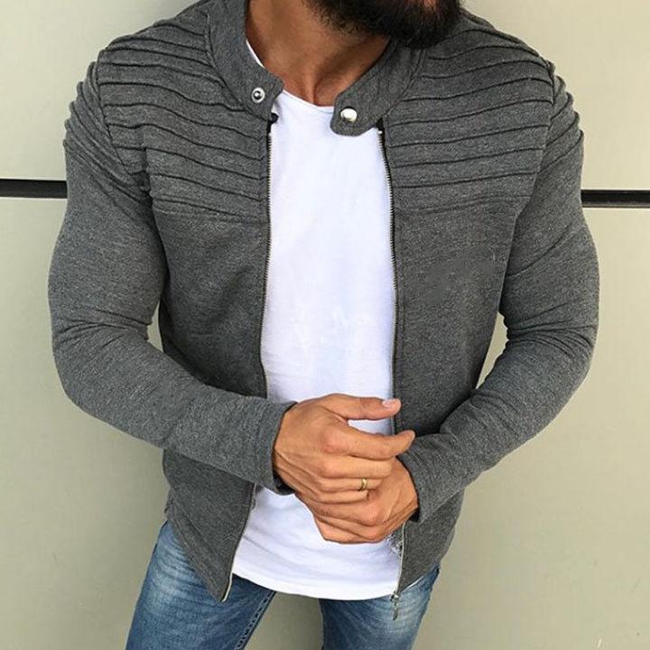 M&J  Spring Summer Men's Solid Zip Jacket Men Coat  Hoodies Casual Jacket Male Outwear gray m