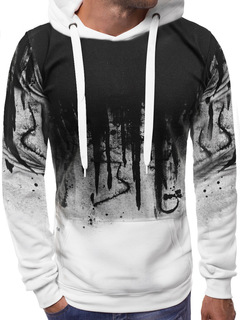 M&J Print Men Hoodies Men Long sleeve Sweatshirts Clothing Fashion Pullovers white l